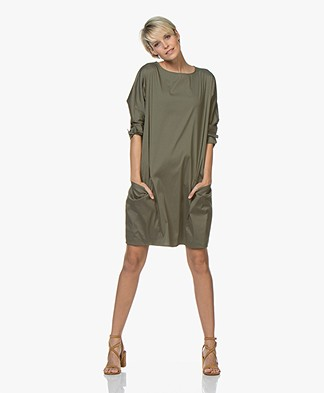 Woman by Earn Bee Stretch Poplin Dress - Army
