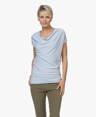 No man's land Draped Viscose Blend T-shirt - Sky