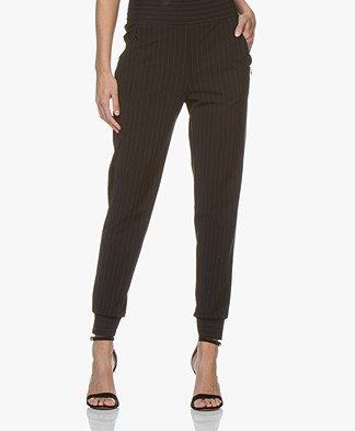 no man's land Travel Jersey Pin Stripe Pants - Blue Black