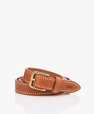 Closed Narrow Leather Belt with Studs - Caramel