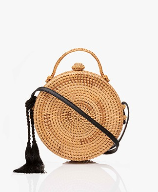Pomandère Round Rattan Shoulder Bag - Milky White