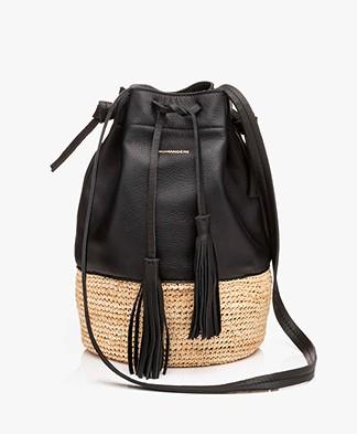 Pomandère Leren Bucket Tas - Zwart