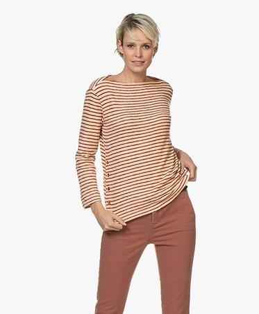By Malene Birger Gestreept Boothals T-shirt - Pink Sand