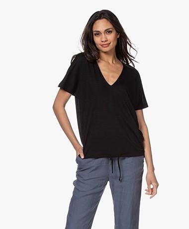 by-bar Donna Gestreept Drawstring T-shirt - Zwart