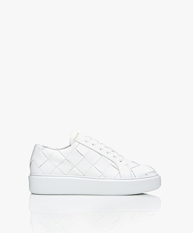 Copenhagen Studios Woven Leather Platform Sneakers - White