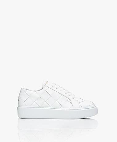 Copenhagen Studios Geweven Leren Platform Sneakers - Wit