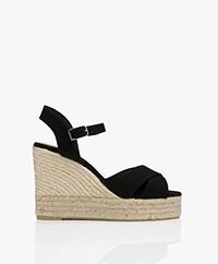 Castaner Blaudell Canvas Espadrille Wedge Sandals - Black