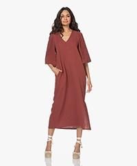 Shades Antwerp Olivia Cotton Muslin Dress - Brick Red