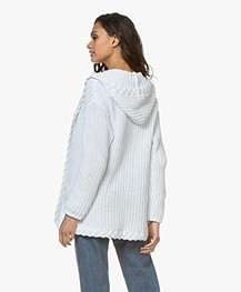 Repeat Chunky Knit Hooded Cardigan - White