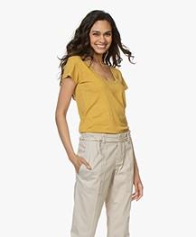 Rag & Bone Pima Cotton U-neck T-shirt - Dark Mustard