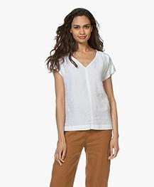Kyra & Ko Amanda Linen Short Sleeve Blouse - White
