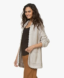 Repeat Chunky Knit Hooded Cardigan - Linen