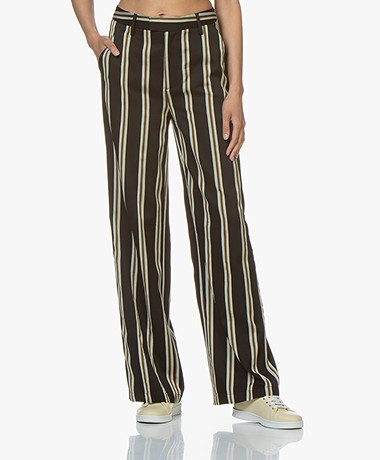 Closed Lyn Striped Twill Pants - Black