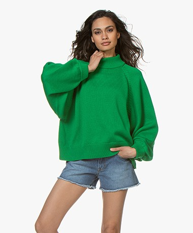 I Love Mr Mittens Maxi Cotton Turtleneck Sweater - Greenery