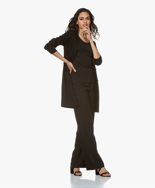 Belluna Cover Half-long Blazer Cardigan - Black