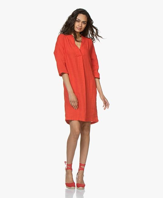 Kyra & Ko Maria Linen Dress - Red