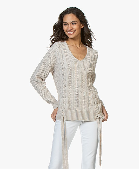 Repeat Cotton Cable Knit Sweater with Tie Details - Linen