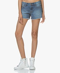 Denham Monroe Stonewashed Denim Shorts - Medium Blue