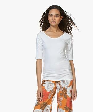 Kyra & Ko Annie Mid Sleeve T-shirt - White