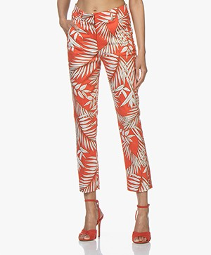 Kyra & Ko Christy Leaf Print Pants - Red