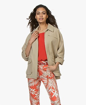 ba&sh Musset Cargo Jacket in Cotton and Linen - Sand