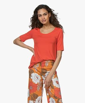 Kyra & Ko Hetta Jersey R-hals T-shirt - Rood