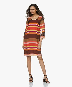 Kyra & Ko Jennifer Striped Chiffon Dress - Red