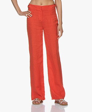 Kyra & Ko Roxx Wide Linen Pants - Red