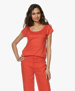 Kyra & Ko Sharon Linen T-shirt - Red
