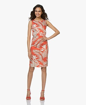 Kyra & Ko Ziva Sleeveless Dress with Leaf Print - Red