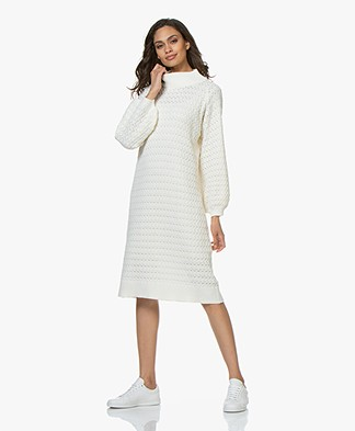 I Love Mr Mittens Balloon Sleeve Lace Midi Dress - Milk