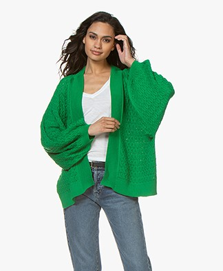 I Love Mr Mittens Short Lace Cardigan with Balloon Sleeves - Greenery