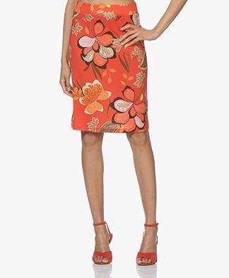 Kyra & Ko Adriana Jersey Printed Skirt - Red