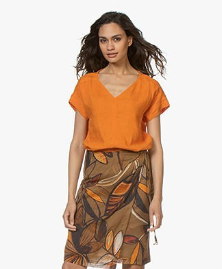 Kyra & Ko Amanda Linen Short Sleeve Blouse - Orange