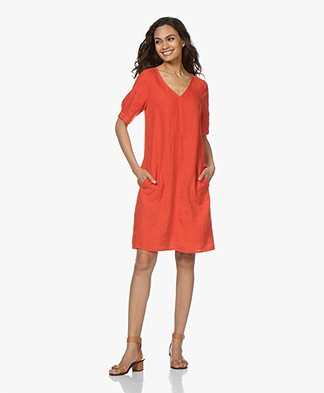 Kyra & Ko Ayla Linen Dress - Red