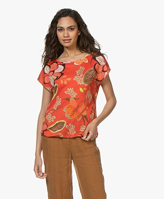 Kyra & Ko Betta Bloemenprint T-shirt - Rood