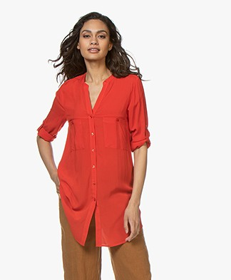 Kyra & Ko Bonnie Long Blouse - Red