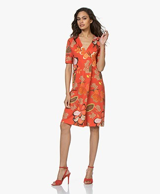 Kyra & Ko Dessa Jersey Dress with Floral Print - Red