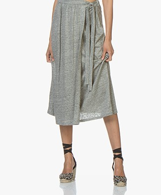 Majestic Filatures Linen Jersey Midi Skirt - Granit