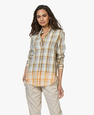Rag & Bone Nola Checkered Silk Blend Blouse - Ivory