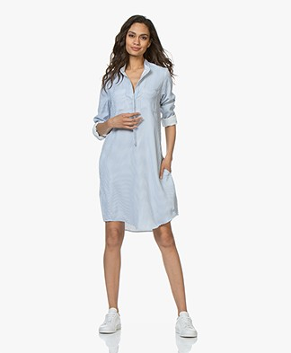 Woman by Earn Ted Fancy Striped Shirt Dress - Light Blue/White