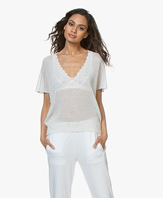 Zadig & Voltaire Indy Open Knit T-shirt with Sequins - White