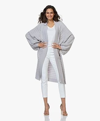 I Love Mr Mittens Long Lace Cardigan with Balloon Sleeves - Grey