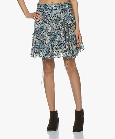 IRO Arney Lurex Print Skirt with Lace Details - Blue