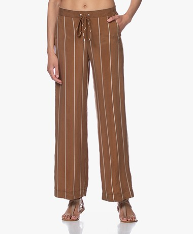 Kyra & Ko Seven Striped Cupro Pants - Tobacco