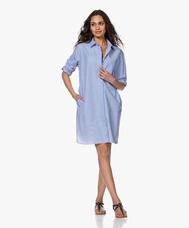Repeat Striped Cotton Shirt Dress - Light Blue