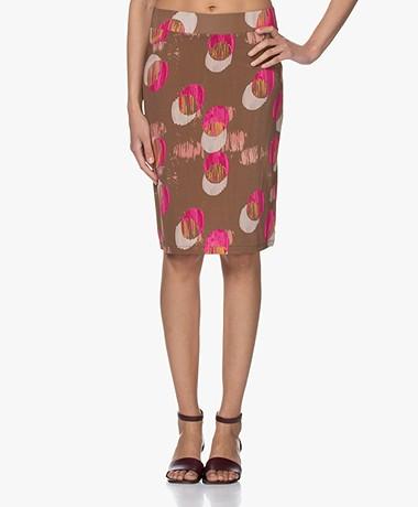 Kyra & Ko Nona Viscose Jersey Print Skirt - Tobacco