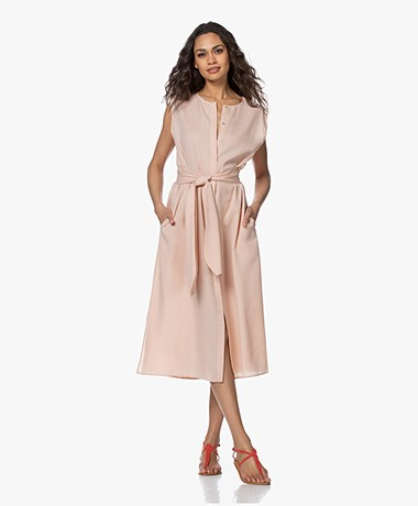 Repeat Tencel Midi Button-through Dress - Peach