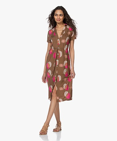 Kyra & Ko Orlane Viscose Jersey Print Button-down Dress - Tobacco