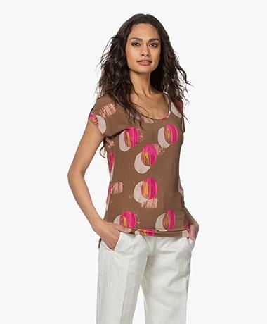 Kyra & Ko Paradis Viscose Jersey Print T-shirt - Tobacco
